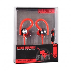Sport headset med mikrofon - Rød