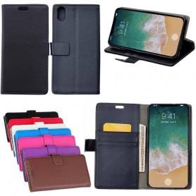 Mobil lommebok 2-kort, seddel, stativ, silikondeksel Apple iPhone X CaseOnline