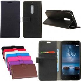 Mobil lommebok 2-kort Nokia 8 Mobil Veske Dekselbeskyttelse Caseoonline