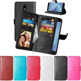 Dobbelt Flexi 9-kort mobil lommebok Samsung Galaxy J7 2017 SM-J730F