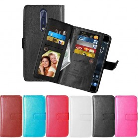 Dobbel klaff Flexi 9-kort Nokia 8 mobil lommebok mobil deksel beskyttelsesetui