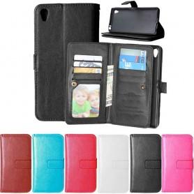 Dobbel klaff Flexi 9-kort mobil lommebok Asus Zenfone Live ZB501KL mobiltelefon veske CaseOnline