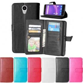 Dobbel klaff Flexi 9-kort ZTE Blade A510 mobil lommebokveske mobiltelefon veske