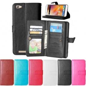 Dobbel klaff Flexi 9-kort ZTE Blade A610 mobil lommebokveske mobiltelefon veske