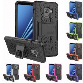 Slagbestandig skall med stativ Samsung Galaxy A8 Plus 2018 silikon tpu 2i1 mobil deksel
