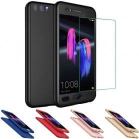 360 mobil skall med herdet skjermglass Huawei Honor 9 STF-L09 skjermdeksel omfattende mobildeksel