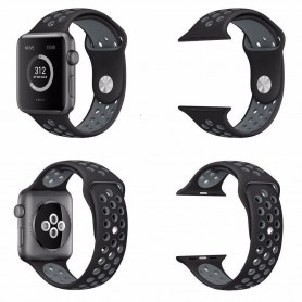 Apple Watch 42mm Sport armbånd Silikon Black-Grey Series 1 2 og Nike + CaseOnline.se