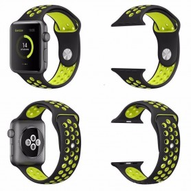 Apple Watch 42mm Sport armbånd Silikon Svart-Gul Watch Armbånd