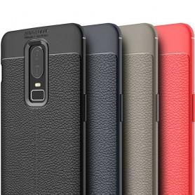Lærmønstret TPU-skall OnePlus 6 silikonskall med mobil skall