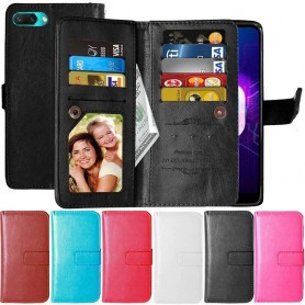 Dobbeltklikk Flexi 9-kort Huawei Honor 10 mobil lommebokveske