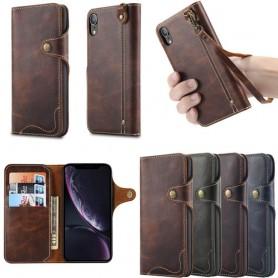 Mobil lommebok 3-kort ekte skinn Apple iPhone XR mobilveske caseonline