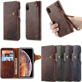 Mobil lommebok 3-kort ekte lær Apple iPhone XS Max mobilveske Caseonline