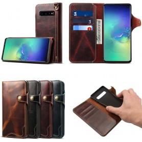 Mobil lommebok 3-kort ekte skinn Samsung Galaxy S10 (SM-G973F)