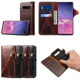 Mobil lommebok 3-kort ekte skinn Samsung Galaxy S10 Plus (SM-G975F)