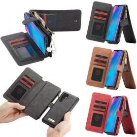 Multi-lommebok 14-kort Huawei P30 Pro med glidelås for myntlommer og nøkler. Mobilbag med 14 korte seter