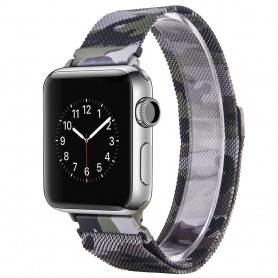 Apple Watch 38mm Series 1,2,3 Armbånd Milanese Camo - Grønn