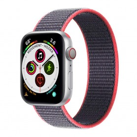 Apple Watch 5 (40mm) Nylon armbånd - elektrisk rosa