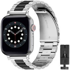 Armbånd Rustfritt stål Apple Watch 6 (44mm) - Sølv/sort