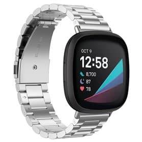 Armbånd Rustfritt stål Fitbit Sense - Sølv